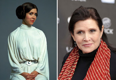 Carrie Fisher como La Princess Leia, 1977 y 2015.