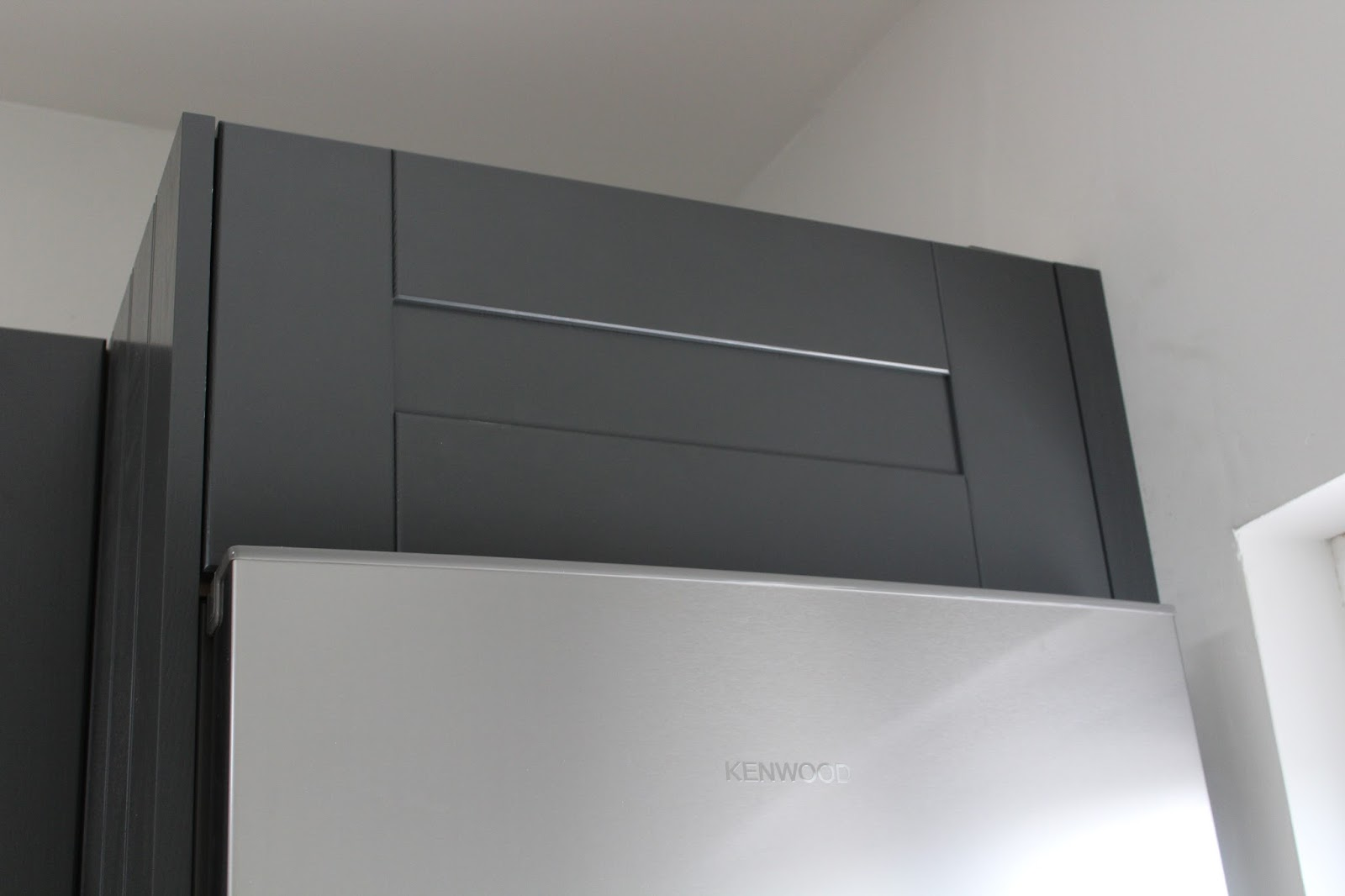 top box over fridge freezer to appear boxed in