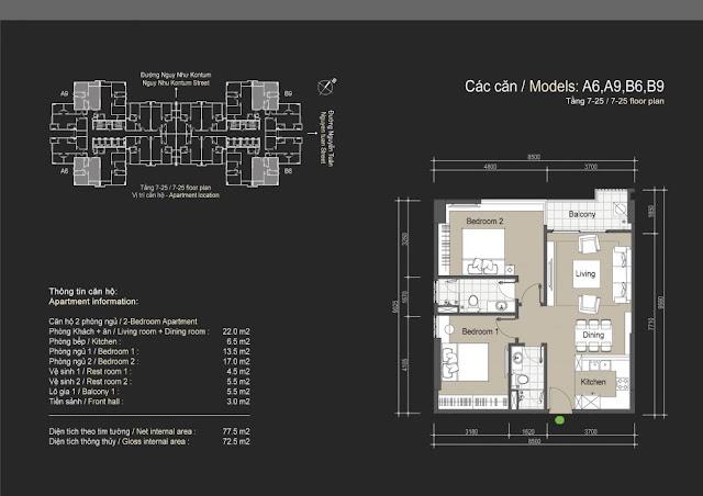 Mặt bằng căn hộ A6 A9 B6 B9 - 72m - The Legend