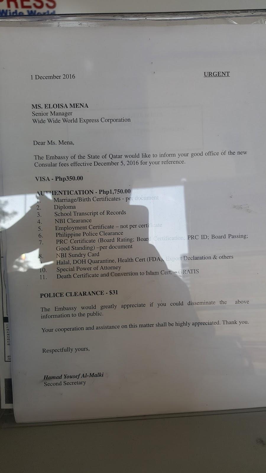 Qatar Embassy Attestation Of Documents