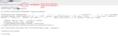 Trace spam email sender
