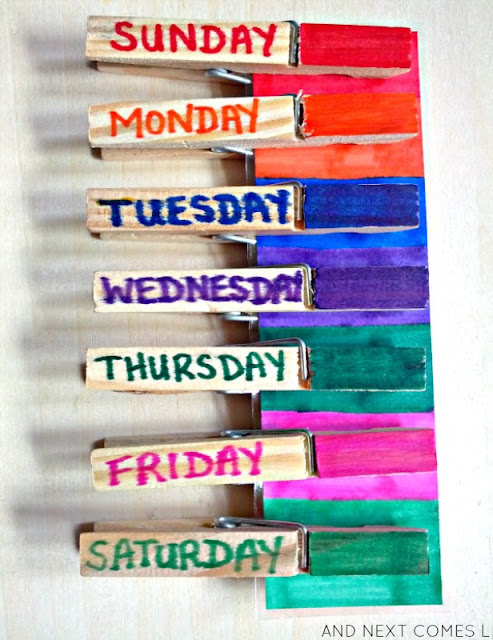 Learn the days of the week with this simple fine motor busy bag idea from And Next Comes L
