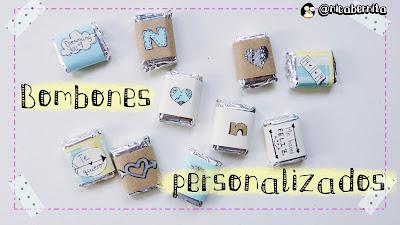 Envoltorios para bombones personalizados con mensajes y dibujos románticos. Especial San Valentín (Nica Bernita)