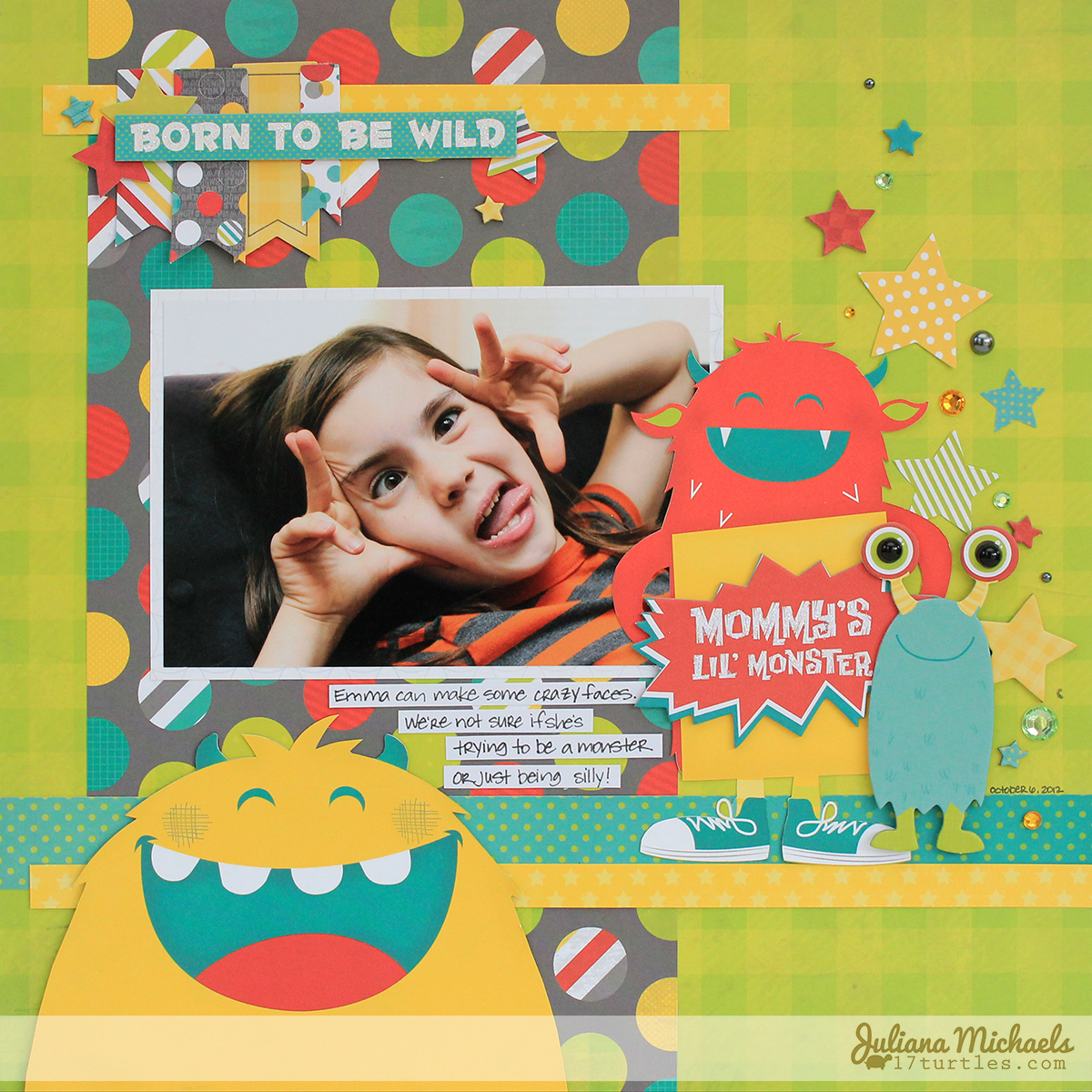 Mommy's Little Monster Scrapbook Page by Juliana Michaels using BoBunny's Our Lil' Monster collection