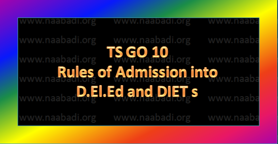 TS GO10 Rules relating to admission of students into D.El.Ed and DIETs