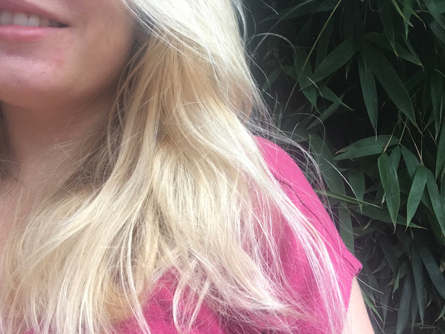 Partial portrait showing long blonde hair against a pink t-shirt and bamboo plant