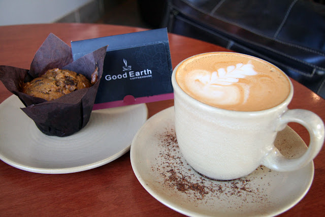 Pumpkin spice muffin paired with a vanilla rooibos latte from Good Earth.