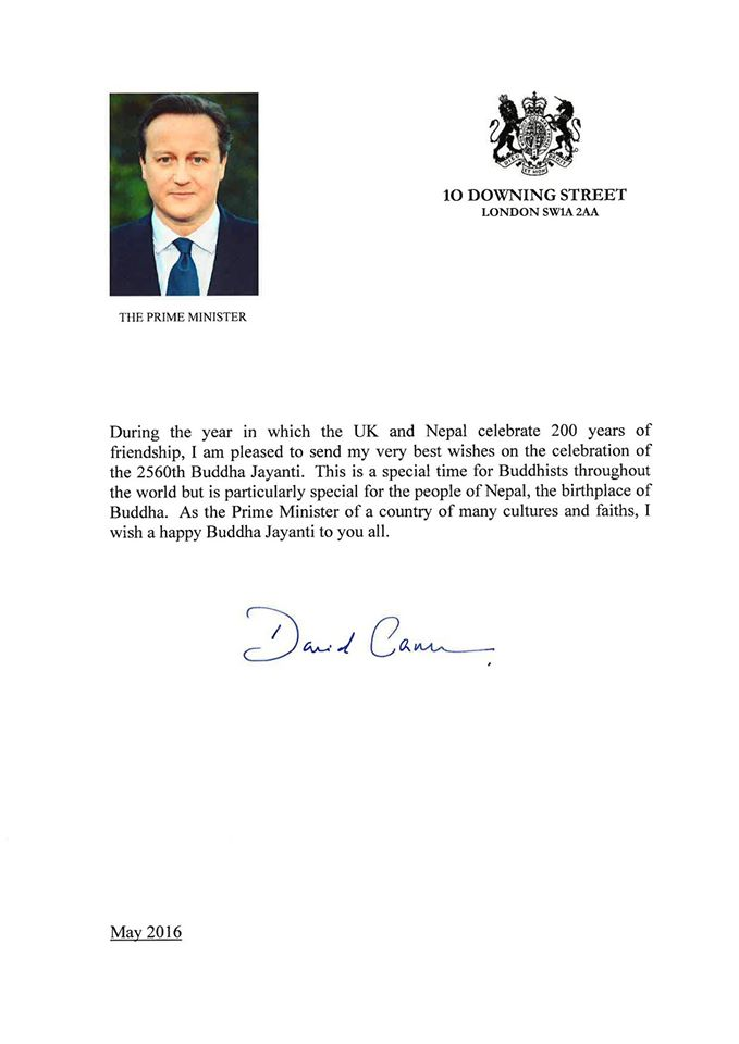 A message from Prime Minister of Uk on the occassion of Buddha Jayanti