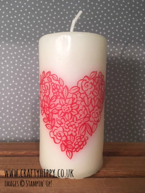 Learn how to transfer a stamped image to a candle. A fun and easy technique with very little supplies needed.