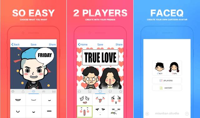 تطبيق FaceQ لإنشاء الصورة الرمزية الكرتونية الخاصة بك