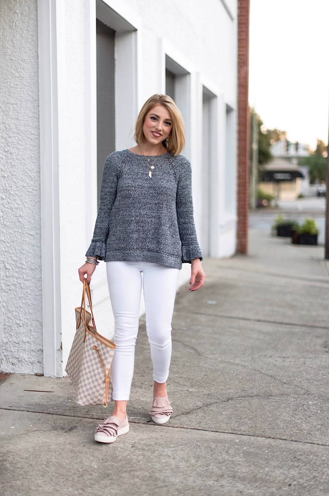 How to wear white pants into the fall - Something Delightful Blog