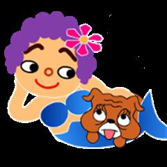 Funny purple hair of woman & friends.