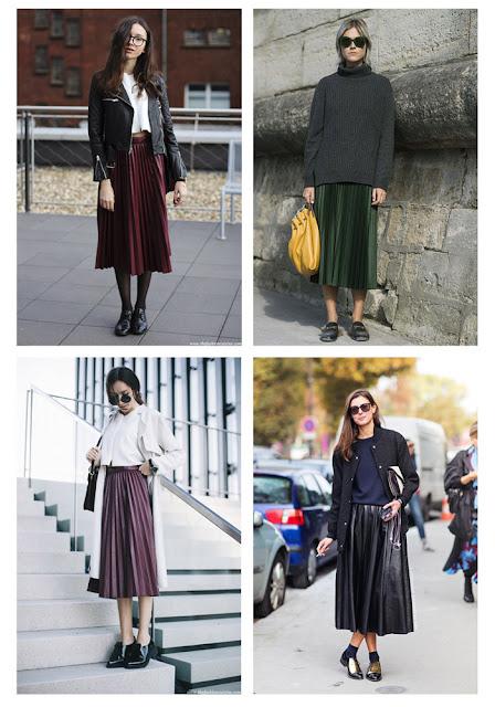 Плиссированная юбка с курткой, свитером, плащем и косухой