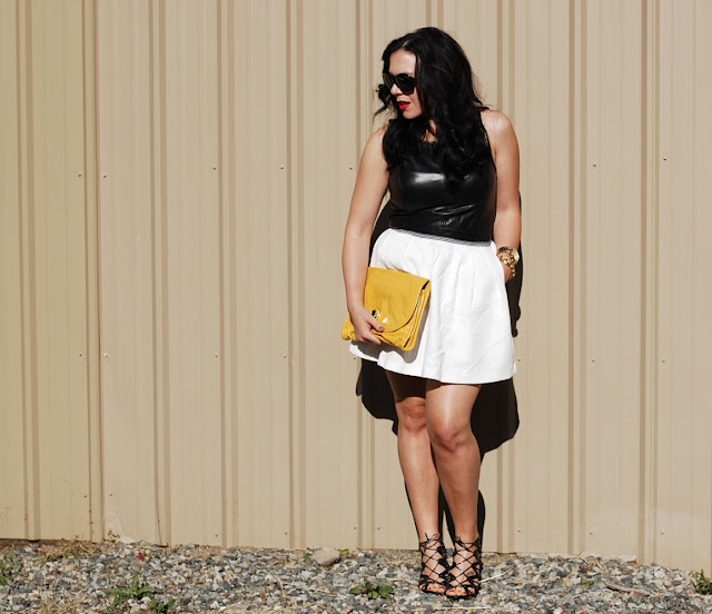 Vancouver fashion blogger,Leather peplum top, white tulip skirt and Marc by Marc Jacobs clutch and Michael Kors Watch.