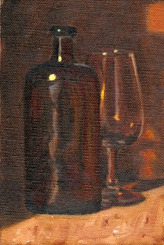 Oil painting of a brown bottle partly obscuring a wine glass.