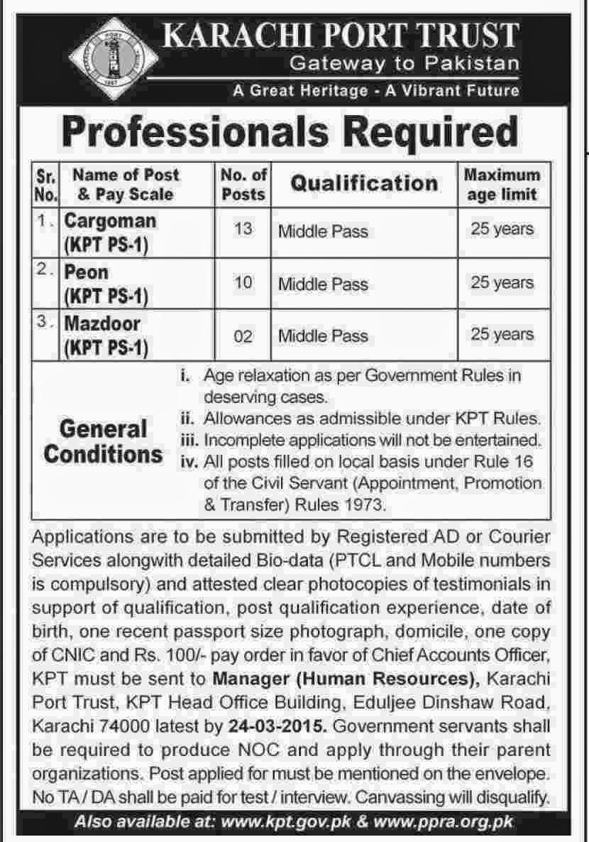 Cargoman,Peon Job in Karachi |Government jobs ~ Jobs in