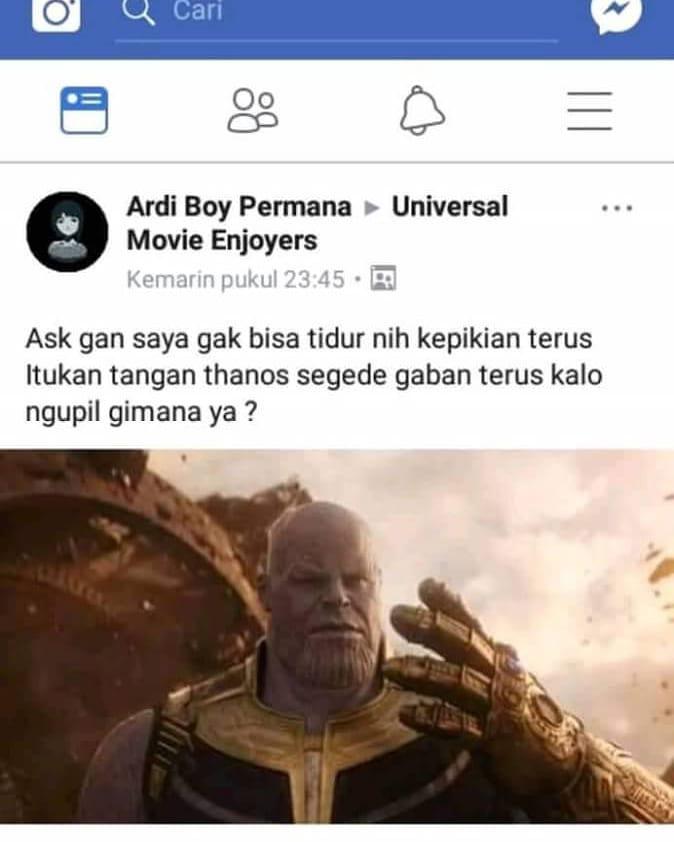 Thanos punya hidup tapi gak bisa ngupil Avenger 4