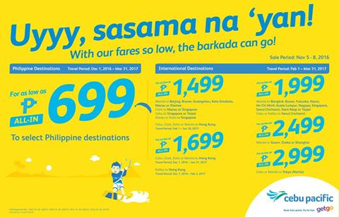 Cebu Pacific SEAT SALE Promo Fare 2016-2017