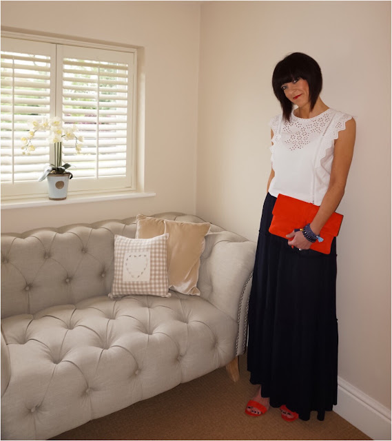 My Midlife Fashion, Boden soft suede clutch, Boden Broderie Top. Marks and Spencer stain away suede block heels