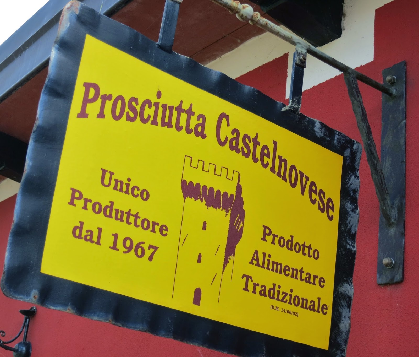 Sign for Prosciutta, the patented ham