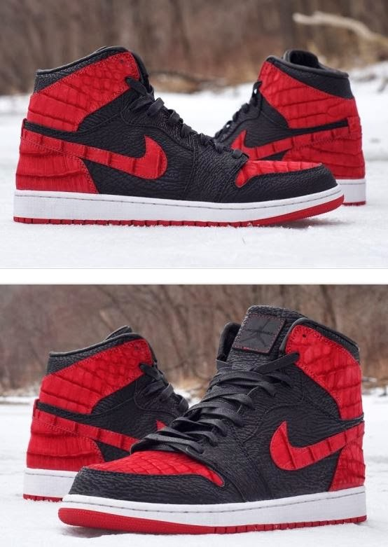 """top fashion 681fd 6a818 ... Air Jordan 1 Bred """"Shark   Croc"""" JBF Custom Sneakers which look sick!  Wish we could get a pair of these reviewed on DJ Delz  Sneaker addict ..."""