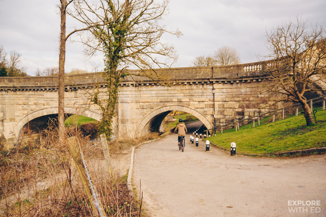 Avoncliff cycling path underneath the Aqueduct