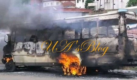 30 Passengers Escape Death As Bus Catches Fire In Onitsha
