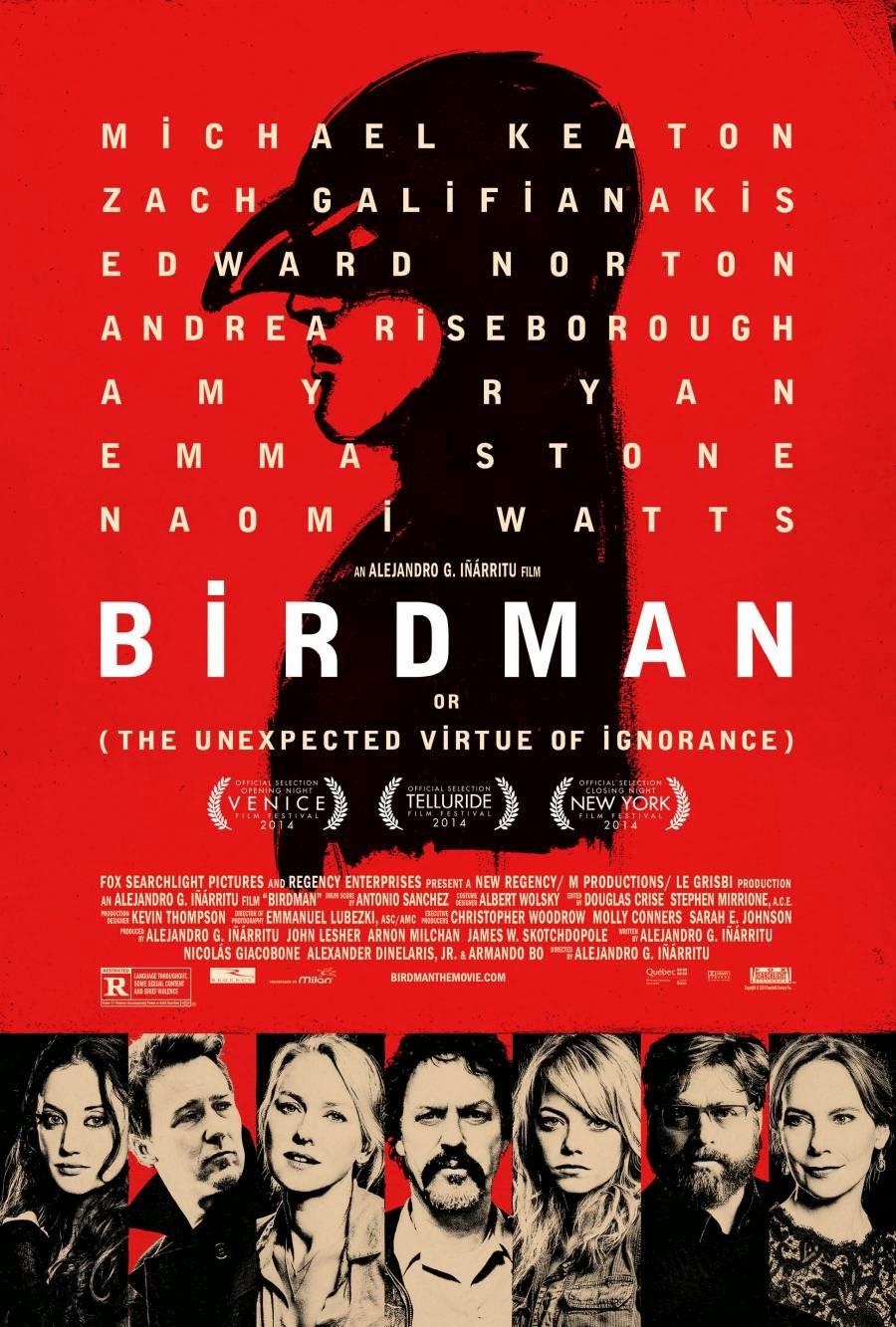 birdman czyli nieoczekiwane pożytki z niewiedzy recenzja filmu plakat michael keaton emma stone