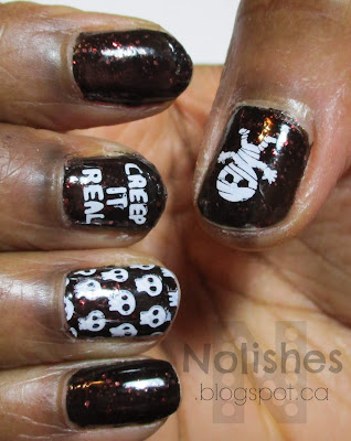 Halloween images stamped in white over OPI Today I Accomplished Zero nail polish