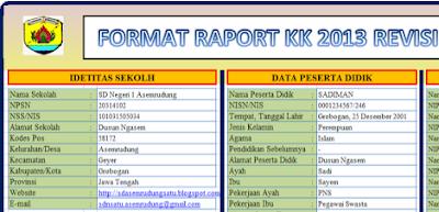 Aplikasi Raport Kurikulum 2013 Hasil Revisi jenjang SD 2017/2018