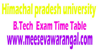 Himachal pradesh university B.Tech VII/VIII Sem Additional Exam In Respect Of UIIT Students 2016 Time Table