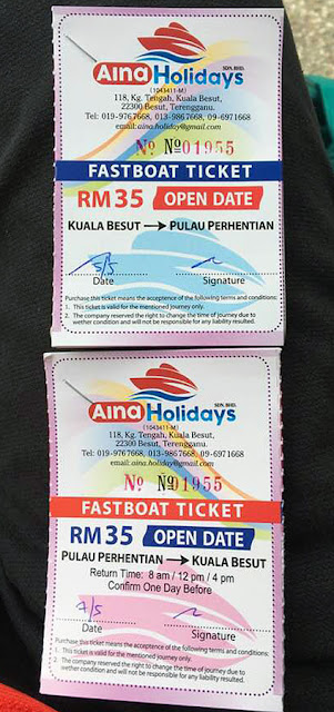 Tickets for Speedboat ride; RM70 two-way rides