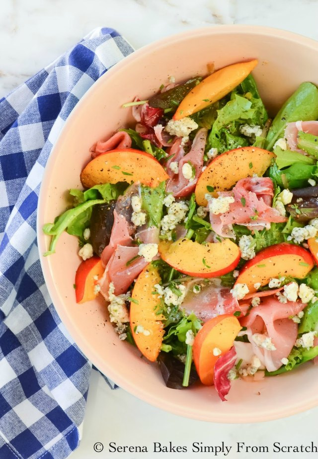 An easy to make salad perfect for summer! Nectarine Summer Salad With Prosciutto Blue Cheese And Lemon Rosemary Thyme Vinaigrette will be a new summertime fav!