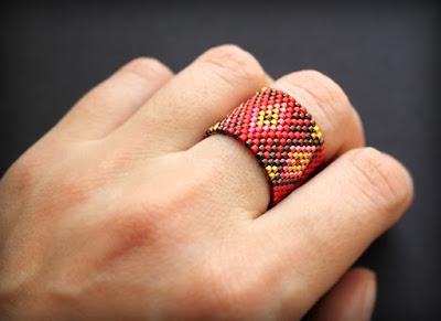 Авторская бижутерия оригинальные кольца из бисера купить в интернет магазине
