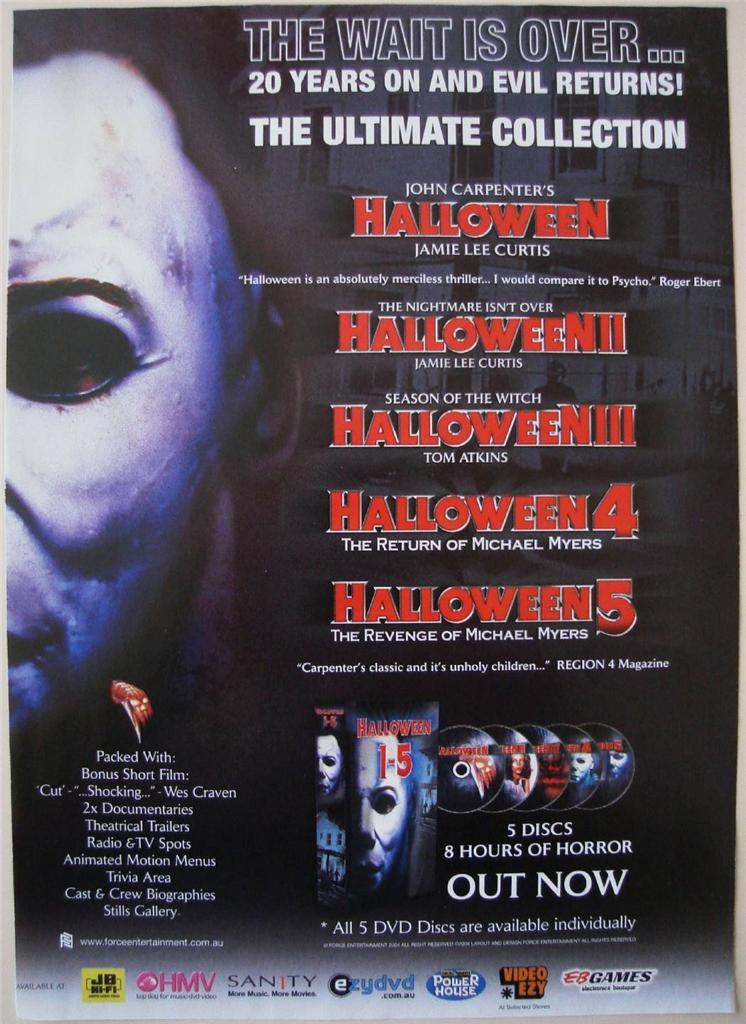 Halloween 5 Blu Ray.The Horrors Of Halloween Halloween Franchise 1978 2009 Boxset Ads