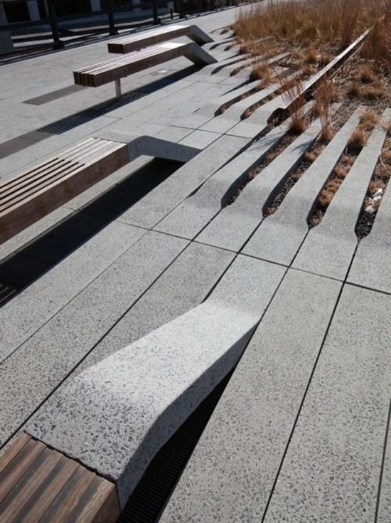 8 contoh kursi taman inspiratif dengan beton dan kayu