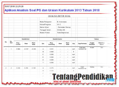 Aplikasi Analisis Soal PG dan Uraian Kurikulum 2013 Tahun 2018