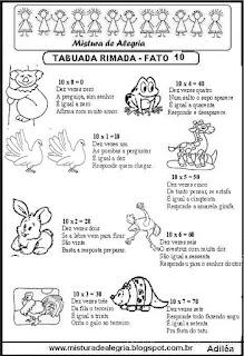 Tabuada rimada e ilustrada fato 10