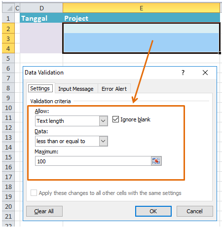 data validaton maximum text length
