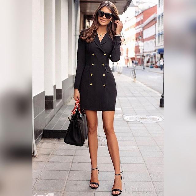 Μακρυμάνικο  κοντό μαύρο φόρεμα SELESTA