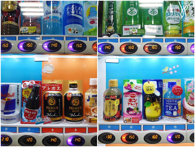 hot and cold drinks on vending machine