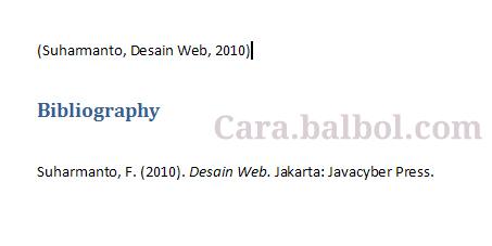 Cara Membuat Daftar Pustaka di Ms Word 2007