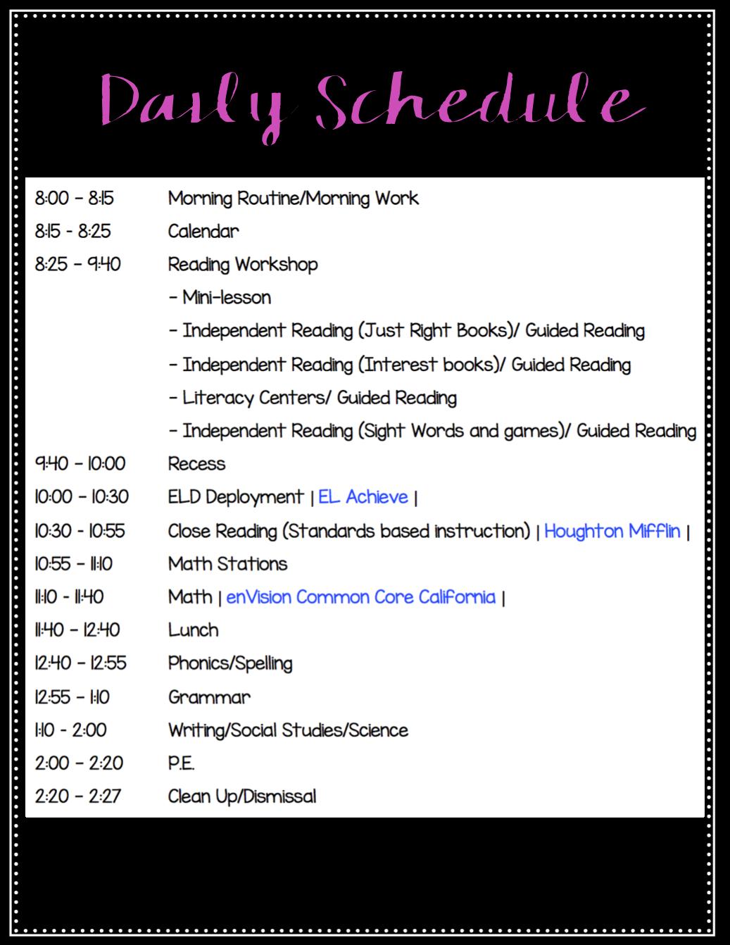 First grade daily schedule