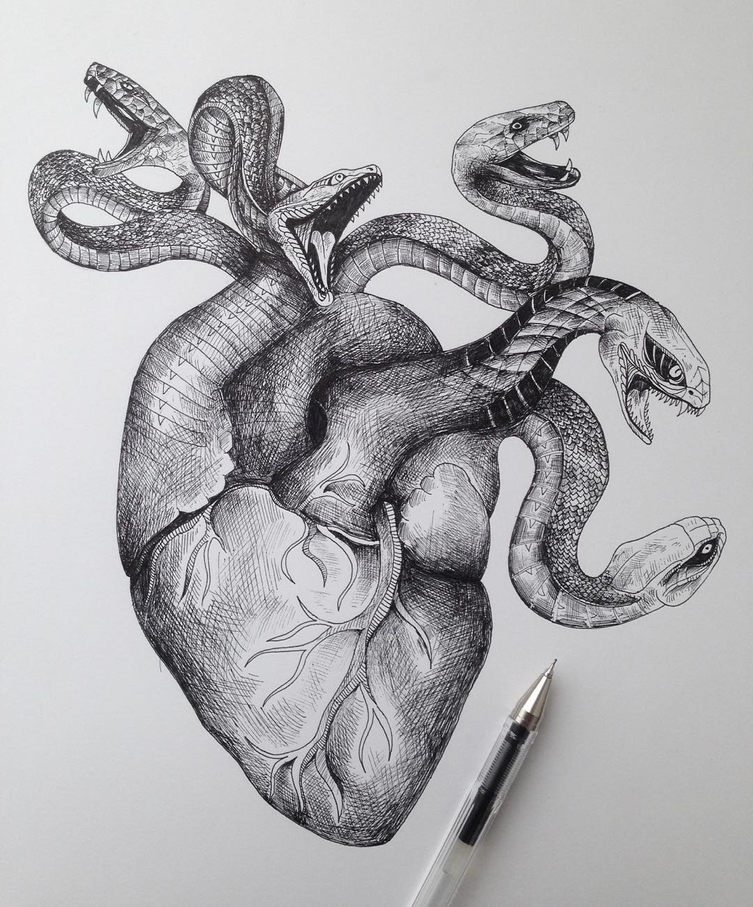 13-Snakes-and-Heart-Alfred-Basha-The-World-of-the-Mind-Expressed-in-Drawings-www-designstack-co