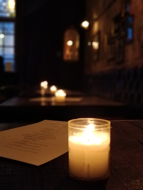 candlelit tables at The Elephant's Head, Hackney, review