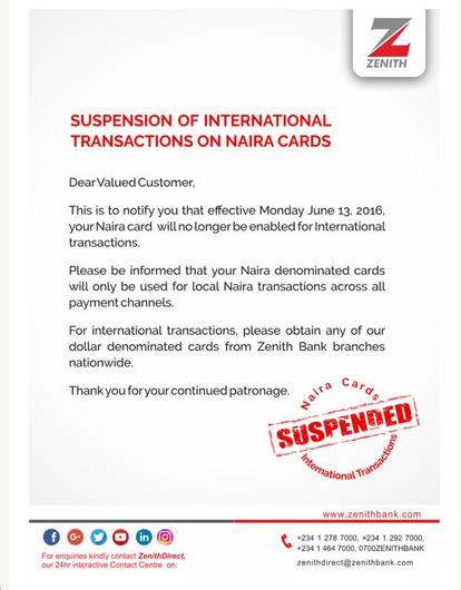zenith bank nigeria naira card suspension memo