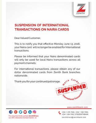 zenith bank nigeria naira card suspension memo
