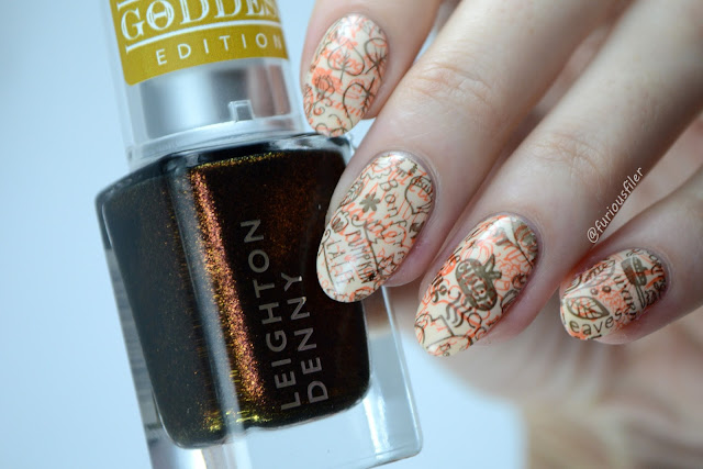 Fall Autumn nails BM-s207 double stamping furious filer