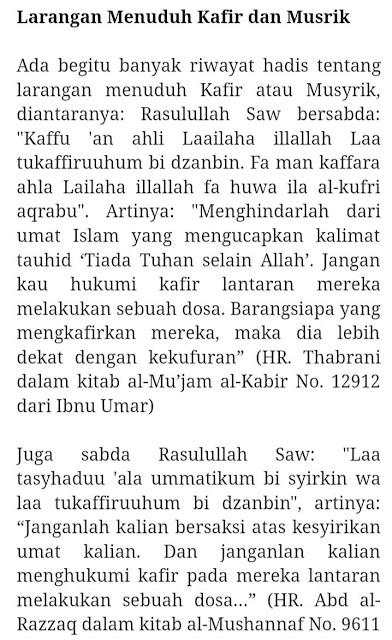 Haram Mengkafirkan Mensyirikkan Sesama Muslim