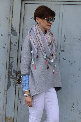 my-bag, Novamoda streetstyle, novamoda stylizacje, stylistka poznan, pastelowe dodatki, szal z frędzlami, wiosenne dodatki